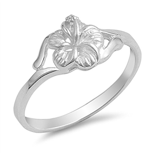 Hawaiian Flower Plumeria 925 Sterling Silver Ring Sizes 4-10