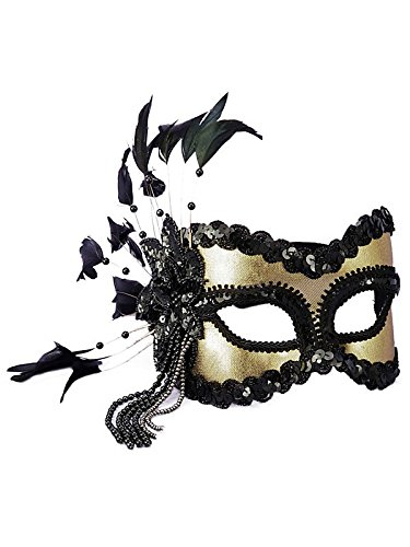 Karneval 1/2 mask - feathers & beads black/gold by Forum Novelties