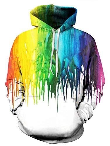 Mens Rainbow Pride Melting White Tie Die Printed Street Style Sweatshirt Hoodie for Unisex