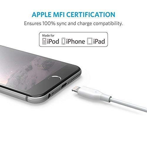 Anker PowerLine 6foot Lightning Cable, MFi Certified for iPhone XS / XS Max / XR / X / 8 / 8 Plus / 7 / 7 Plus / 6 /6 Plus / 5s / iPad, and More (White)
