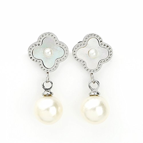 Delicate Silver (White Gold) Tone Post Earrings with Contemporary Clover Design, Faux Pearl Center, Mother-Of-Pearl Inlay and Drop Pearl (160035) ()