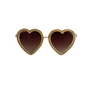 2015 latest fashion trend personality Korean Heart-shaped sunglasses (Golden)