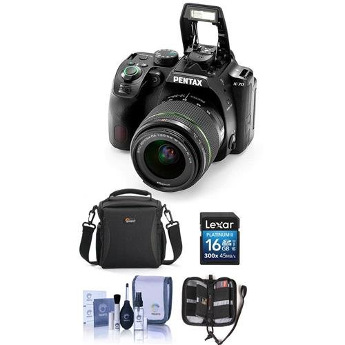 Pentax K-70 DSLR with SMC DA 18-55mm f/3.5-5.6 AL WR Lens, Black - Bundle With Camera Case, 16GB SDHC Card, Cleaning Kit, Memory Wallet (Slr Pentax Memory)