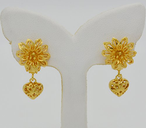 24k Hard Gold Plated (Stud Flower Heart Drop Filigree 22k 24k Yellow Thai Gold Plated Gp Women Girl Earrings 15 mm)