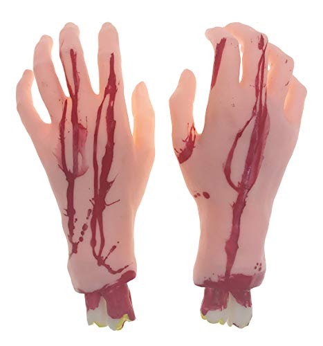 Alrsodl Bloody Scary Horrible Red Realistic Fake Hands for Halloween Props Trick Toy Haunted House Decoration Zombie Mad Theme Party Supplies -