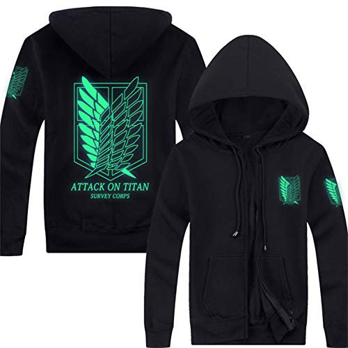 Pulle-A Anime Attack On Titan Shingeki No Kyojin Survey Corps Eren Halloween Cosplay Hoodie Blouse Survey Corps Adult Zip Hoodie Long Sleeve Sweater Jacket Costume Coats Glow S for $<!--$27.52-->