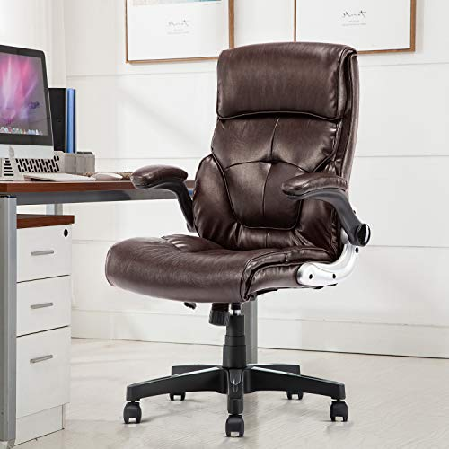 B2C2B Leather Executive Office Chair Computer Desk Chair Ergonomic Adjustable Racing Chair Task Swivel Chair Armrest and Lumbar Support