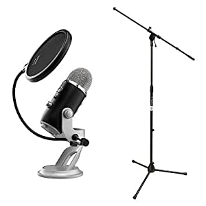 blue microphones yeti usb microphone premium black edition bundle with mic stand. Black Bedroom Furniture Sets. Home Design Ideas