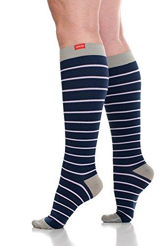 VIM & VIGR Womens 15-20 mmHg Compression Socks: Nautical Stripes - Blue & Lavender (Nylon) (Medium)