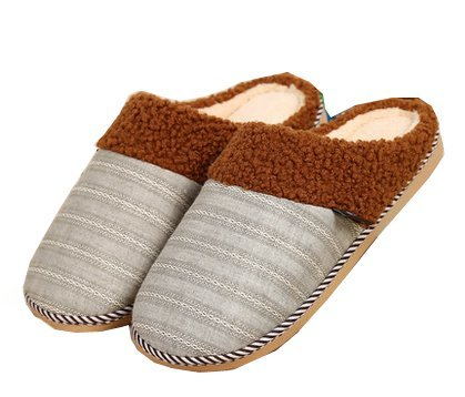 Blubi Mens Plush Lined Striped Men Slippers Indoor Slippers Coffee DeWDkcQQ