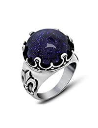Tyzon Fashion Design Sparkling Blue Sandstone Stainless Steel Womens Ring
