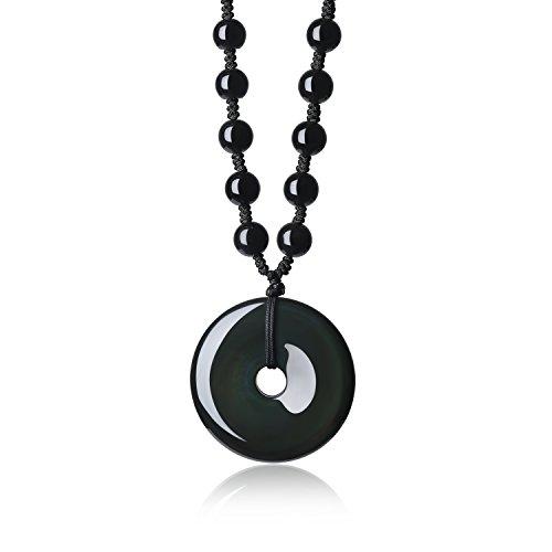 (COAI Mala Beads Round Donut Pendant Obsidian Beaded)