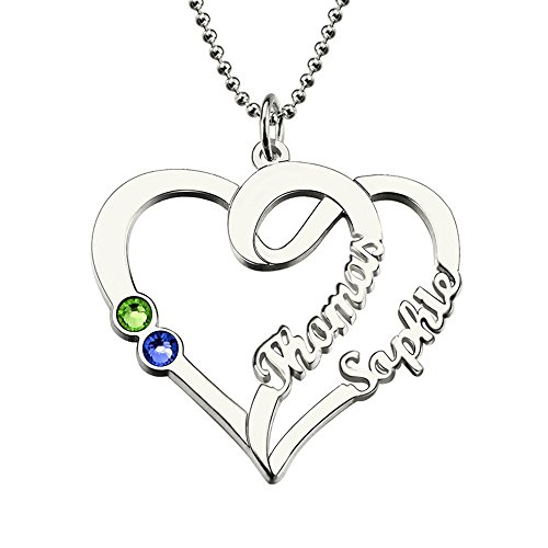 (Amandasessom Heart Names Necklace With Birthstone Sterling Silver Heart Necklace Customized Couple Necklace Love Jewelry Silver 16