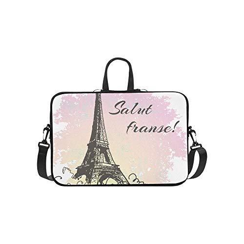 Beautiful Image of Paris On Watercolor Background Pattern Briefcase Laptop Bag Messenger Shoulder Work Bag Crossbody Handbag for Business Travelling