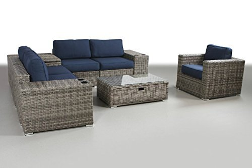 Patio Furniture Sunbrella Cushion | PE Rattan Outdoor Wicker Sectional Conversation Black Washable Seat Cushions & Glass Coffee Table | Patio, Backyard, Antibes Collection (9 Piece Coffee Table)