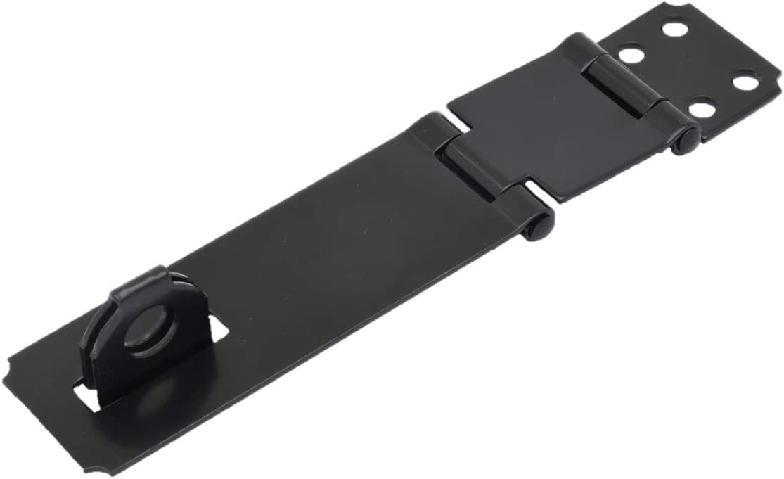 """QCAA Double Hinge HASP and Fixed Staple, 4-1/2"""", Steel, Black, 2 Pack, Made in Taiwan"""