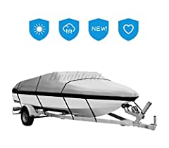 This item is made by woven polyester material with PU coating, MARINE GRADE, which is very good water-proof. Our cover has a 18 meter extra belt, you can use it to tight from the front to rear of the boat. This can provide extra secure of the...