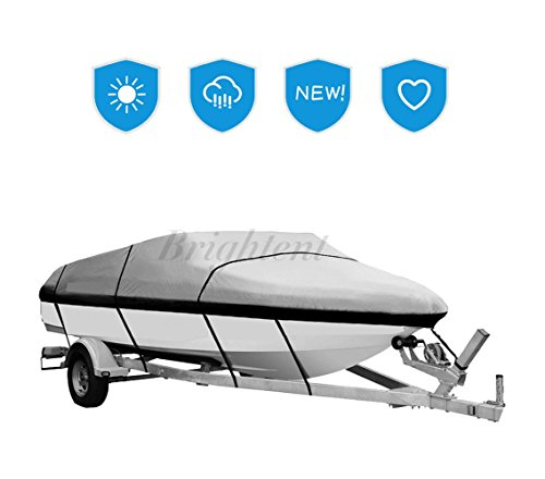 Hurricane Boat Cover - Brightent Boat Cover BC1 Heavy Duty 600D Three Sizes Water Proof Trailer Fishing Ski Covers (Fit Boat Length 20'-22' XBT3H)