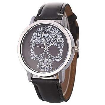 Relojes de hombre Mujer Pareja Reloj Casual Cuarzo Reloj Casual Piel Banda Analógico Casual Calavera Negro