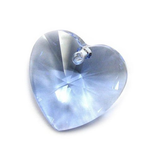 1 pc Swarovski Xilion Crystal 6228 Heart Charm Pendant Light Sapphire 28mm / Findings / Crystallized Element