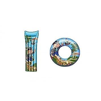 Colchón de aire / Colchón Flotador y flotador / Neumáticos flotantes en azul con Pirata: Amazon.es: Juguetes y juegos