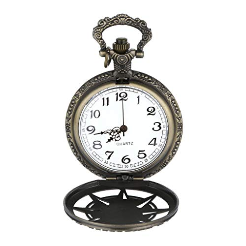 Pocket Watch Ornament - Fashion Men Watch,Fxbar Personalized Pattern Steampunk Vintage Quartz Roman Numerals Pocket Watch Unique Gift(D)
