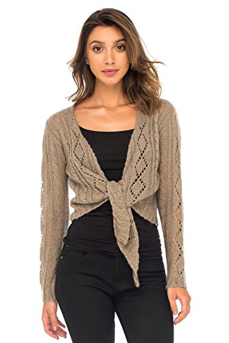 Cable Bolero - Back From Bali Womens Cable Knit Shrug Bolero Long Sleeve Boho Cardigan Tie Front Beige Large/X-Large