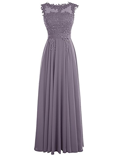 (Clearbridal Women's A Line Long Chiffon Bridesmaid Dress Applique Fomal Gown Gray)
