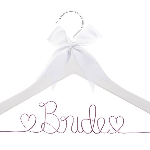 Bride to Be Wedding Dress Hanger Wooden and Wire Hangers for Brides (White Wood Pink Wire)