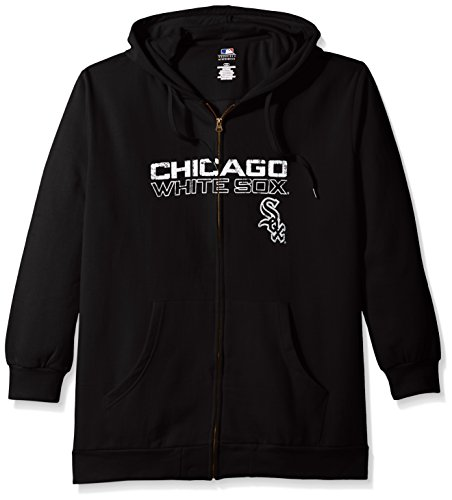Profile Big & Tall MLB Chicago White Sox Women's Team Full Zip Fleece Hoodie with Distress Word Mark on Chest, 2X, Black