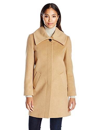 LARRY LEVINE Women's Envelope Collar Walker Jacket, Camel 10