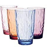 Unbreakable Tumbler, Set of 4 Reusable Plastic Acrylic Tumbler Glasses - 16 Oz Camping Glasses, Plastic Tumblers for Children, Acrylic Drinking Glasses, 100% BPA Free (1)