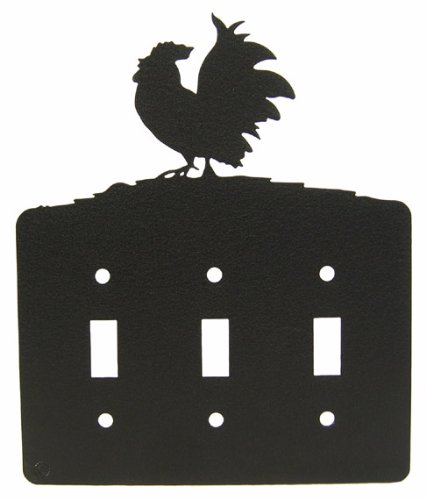 Poultry Rooster Chicken Triple Light Switch Plate Cover