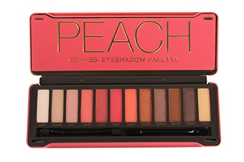 BYS Peach Eyeshadow Palette Tin with Mirror Applicator 12 Matte & Metallic Shades