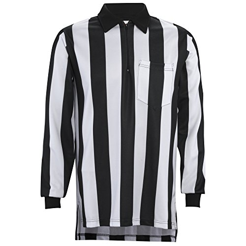Adams Football Referee Long Sleeve Shirt with 2-Inch Black and White Stripes, Medium
