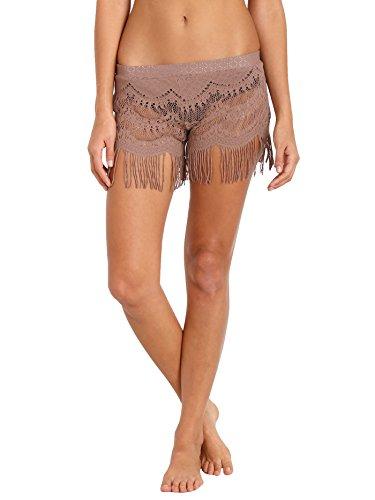 Bettinis Swimwear - Bettinis Lace Shorts with Fringe Putty