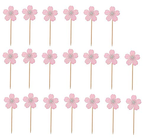 20pcs Cherry Blossom Cake Toppers Cupcake Picks for Birthday Wedding Ceremony Party Decoration