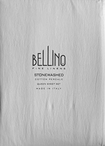 Bellino Fine Linens Italy 4pc Sheet Set Solid Light Gray Sonewashed 100% Cotton Percale Luxury 300 TC (Queen) ()