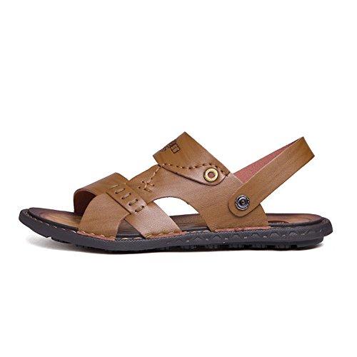 antiscivolo estive Uomo Dimensione da shoes 2018 Xujw con pelle sandali Cachi da 41 uomo Scarpe Sandali traspiranti da Marrone trekking in vera Color EU F8TwIxqw