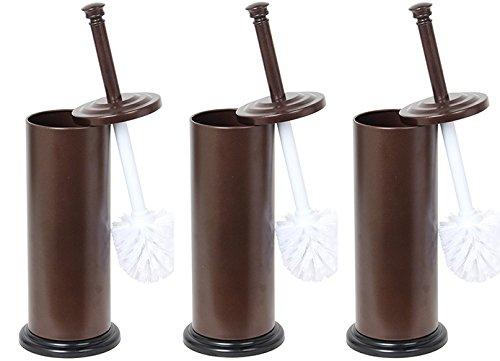 Home Basics Bronze Toilet Brush with Holder, 3 Brushes & Hol