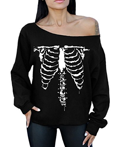 Awkwardstyles Halloween Off The Shoulder Sweatshirt Front Ribcage Costume Party XL Black