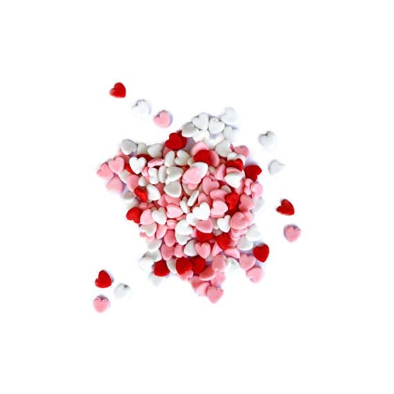 SWEET INSPIRATIONS Edible Cake Decoration Valentine Day Special Sprinkles Cupcake Toppers Red White Pink Heart Small- 60