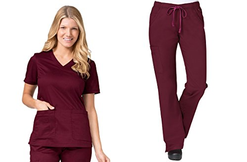Blossom by Maevn Curved V-Neck Top & Straight Leg Cargo Pant Scrub Set (3X-Large Tall, Wine) by Maevn
