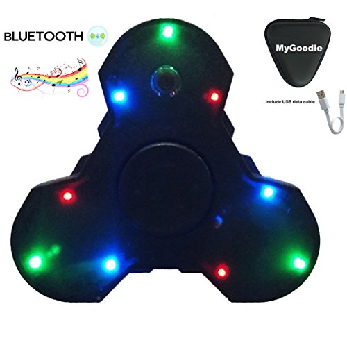 My Goodie LED Light MINI Bluetooth Audio Hand Spinner Music Speaker,Perfect For ADD,ADHD,Autism and Pressure Relief Killing Time Finger Toy (New Style Black)