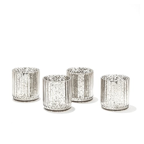 LampLust Mercury Glass Candle Holders - Silver Speckled Votive Holder, Set of 4, Fits Small Candles or Tea Lights, for Christmas Decor, Holidays and ()