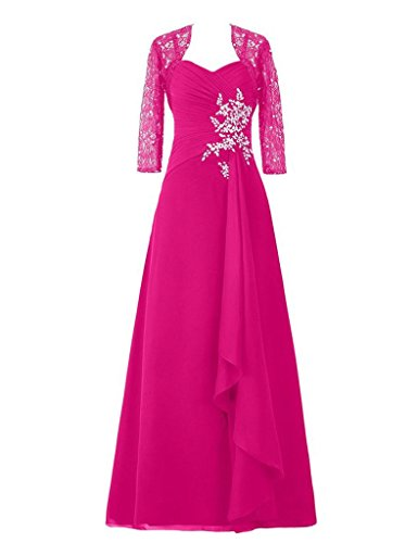 Prom D S Bride Gowns Mother Applique Of H With Lace Jacket The Dresses Fuchsia Long xqBn7w