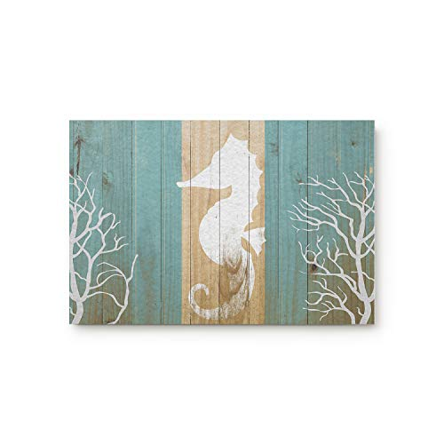 KAROLA Doormat Entrance Mat Floor Rug Kitchen/Front Door/Bathroom Mats Non Slip Seahorse Under Water Sealife on Rustic Old Barn Wood 18