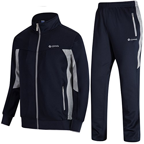 JINSHI Men's Athletic Tracksuit Full Zip Warm Jogging Sweat Suits (Blue Grey,XS) (Logo Tracksuit)