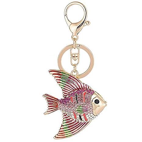 Amazon.com: Cute 3d peces tropicales de vidrio llavero ...