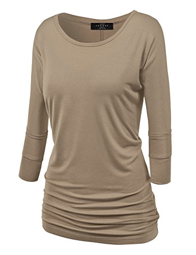 (Made By Johnny MBJ WT822 Womens 3/4 Sleeve with Drape Top M Taupe)